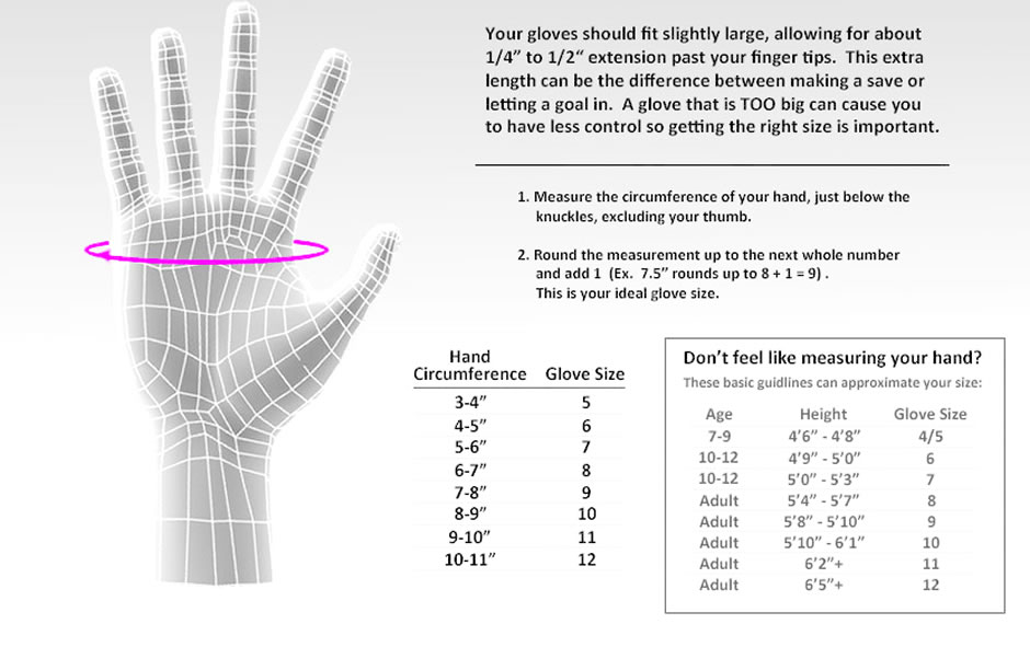 junior gloves size guide